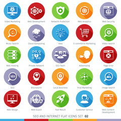 SEO Internet And Development Long Shadow Flat Icon Set 02