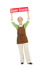 Shopkeeper: Holding Up a Grand Opening Sign