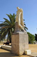Estatua del emperador romano Trajano en la ciudad romana de Itálica, Santiponce, provincia de Sevilla, Andalucía, España