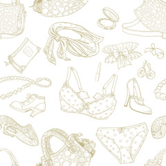 Seamless pattern of female subjects