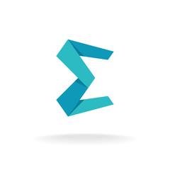 E letter logo template. Origami paper style.