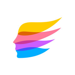 Woman face silhouette logo template. Color ribbons concept. Flat