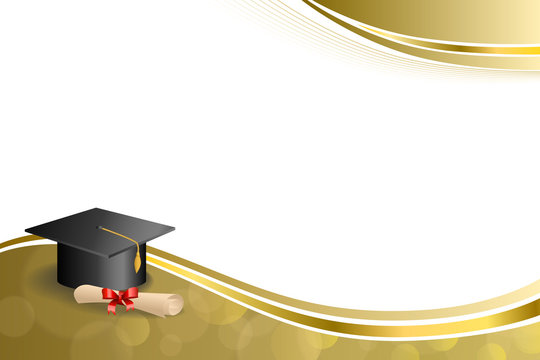 Beige education graduation cap diploma red bow gold frame