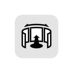 Panorama logo. Black outline icon. 360 degree view.