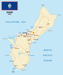 Guam map with flag