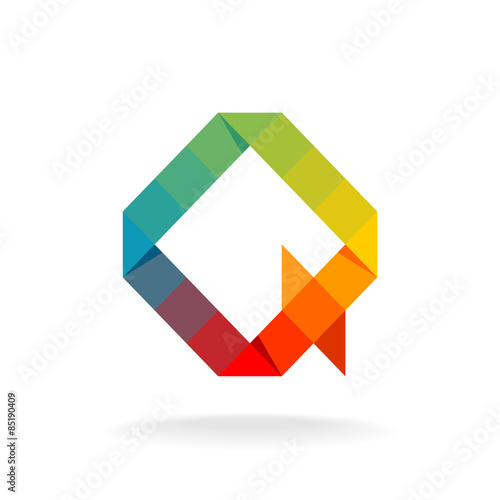 q letter logo template rainbow color flat squares and triangles
