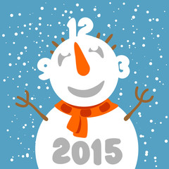Fun snowman with clock face. Greeting card template.