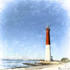 Vintage retro style illustration Barnegat Lighthouse, Barnegat Light, New Jersey