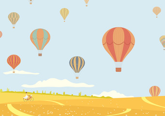Hot air balloons over fields