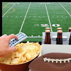 Deflated Football TV Screen Beer and Chips