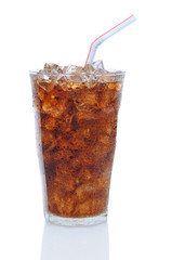 Glass of Cola with Drinking Straw