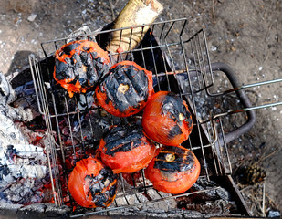Tomato grilled over charcoal