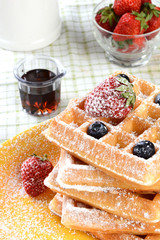 Waffles With Strawberries and Blueberries