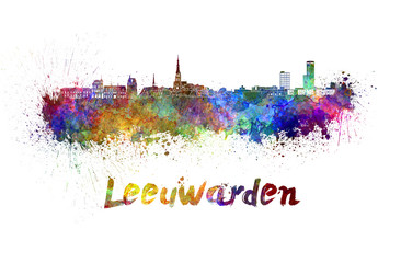 Wall Mural - Leeuwarden skyline in watercolor