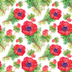 Seamless floral pattern with watercolor flowers and butterflies