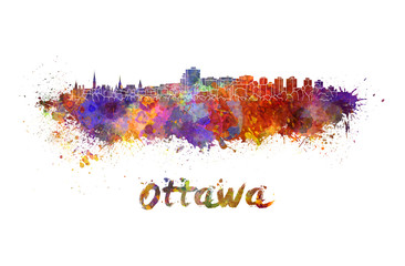 Ottawa skyline in watercolor