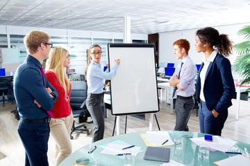 executive woman presentation multi ethnic team