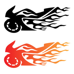 Flaming Sport Bike Motorcycle Logo Vector Illustration