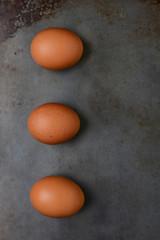 Brwon Eggs on Baking Sheet