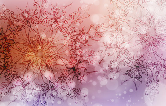Flower Mandala on a pink and violet abstract  background