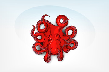 Isolated orange octopus with shadow. Hand drawn original close up vector illustration or icon. Template for poster, flyer, print, tattoo, logo or symbol