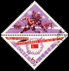 Ice hockey on post stamp
