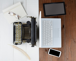 Old Typewriter and Computer