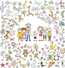 Vector children's doodle of happy family