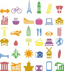 Set of different travel icons in the flat style