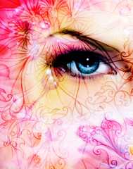 blue women eye beaming up enchanting from behind a blooming