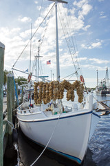 White Sponge Boat - White Wooden Sponge Boat with Blue Trim and Drying Sponges Floating in Water at a Dock in Tarpon Springs Florida.