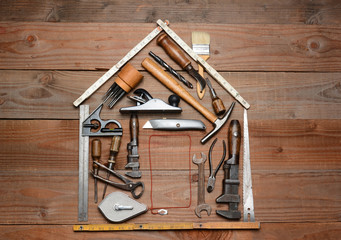 Tools Arranged in House Shape