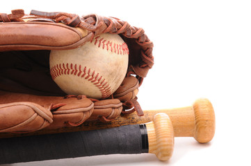 Baseball Glove ball and two bats on white with copyspace