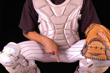 Baseball Catcher Giving Sing