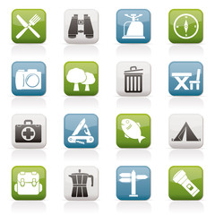 Camping, tourism and travel icons - vector icon set