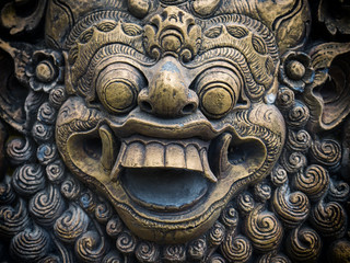 Gardian statue at the Bali temple entrance