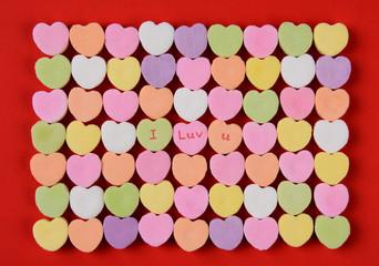 I Luv U on Candy Hearts