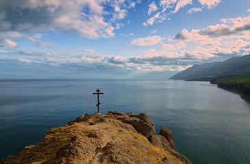 Foto auf AluDibond Himmelblau Rood over the lake Baikal