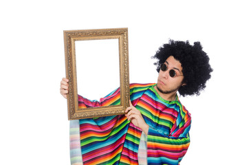 Funny mexican with photo frame isolated on white
