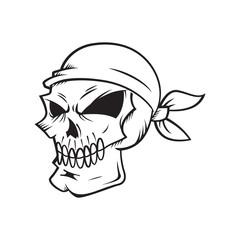 skull wearing bandanna