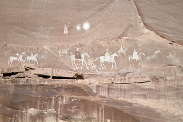 Precolumbian pictograph showing Spanish invaders in Canyon de Chelly National Monument in Arizona