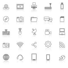 Hi-tech line icons with reflect on white