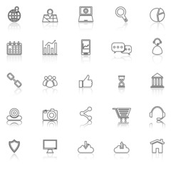SEO line icons with reflect on white