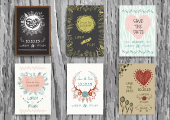 Set of Vintage Creative Cards with Hand Drawn floral.