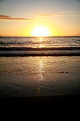 Photo taken during sunrise at Copacabana beach in Rio de Janeiro, Brazil.