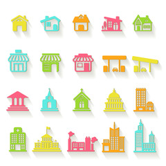 Colorful house, church, shop, building, flat icon vector set