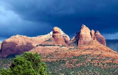 Red rocks against a storm cloud near Sedona, Arizona