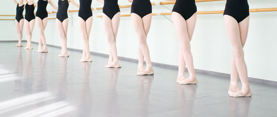 legs of dancers ballerinas in class classical dance, ballet