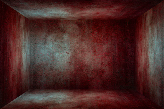Old grunge red blood stained concrete texture wall room backgrou