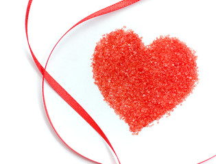 Sweet Valentines Day Heart & Red Ribbon